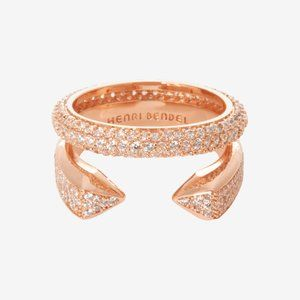 Henri Bendel Rosegold Crystal pave Two Stacks Ring
